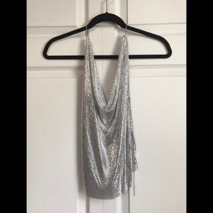 EXPRESS Silver Chainmail Halter Top